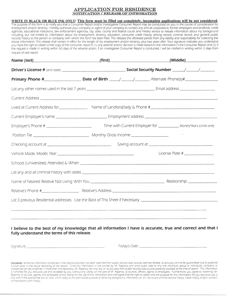 ... free rental application form lease application forms ez landlord